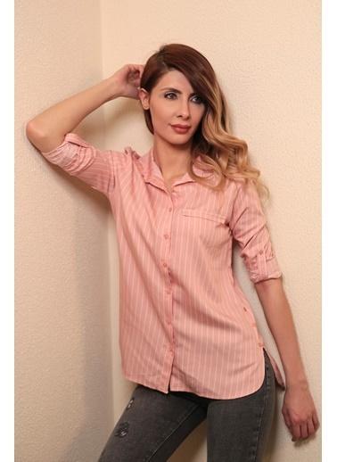 Reyon Çizgili Kadın Gömlek Pembe/Beyaz Pembe